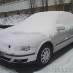 snow on car