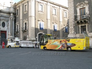 The sightseeing bus in Catania, Sicily