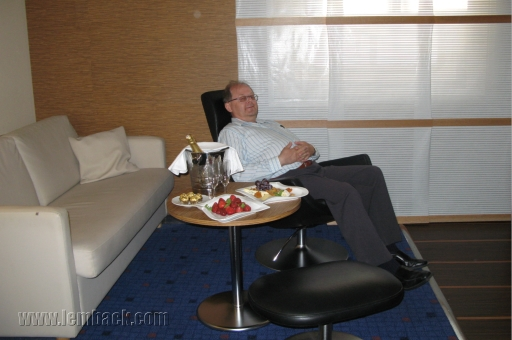 Hubby at the captain's suite