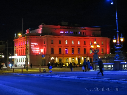 Lighted facade of Stora Teatern