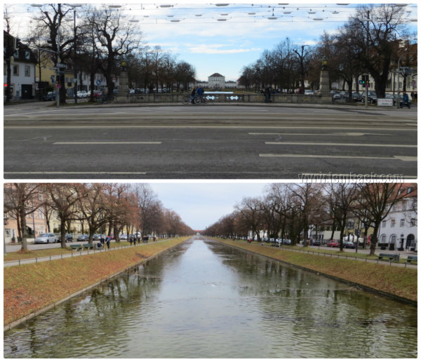 Above: View of the Palace.  Below: Length of Schloss Garden canal
