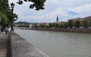 Walking Along the Adige River in Verona